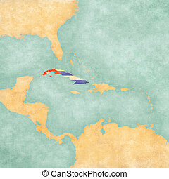Map of Caribbean - Cuba Vintage Series - Cuba Cuban flag on...