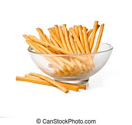 Salty pretzel sticks isolated on white background With...