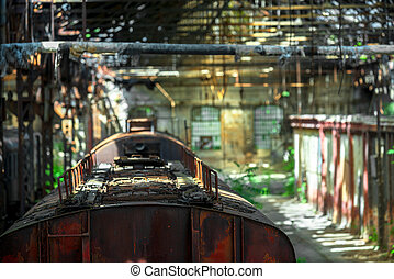 Cargo trains in old train depot left to be eaten by the rust