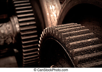 Rusty industrial machine parts closeup photo