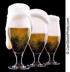 helado, vidrio, luz, cerveza, negro, Plano de fondo