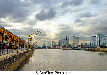 Puerto Madero Wide Angle - A wide angle view of the Puerto...