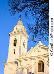 White Church Spire - Tower of a white church near Recoleta...