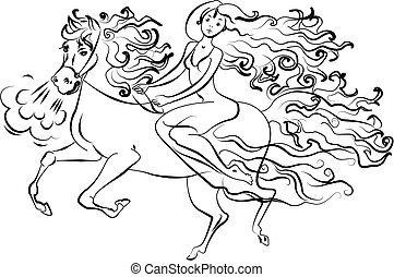 Woman on horseback vector - Woman on horseback Isolated on...