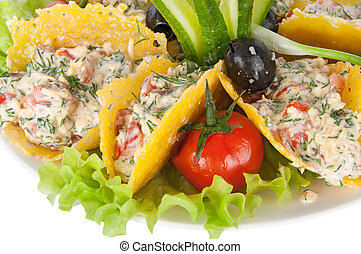vegetal, queijo, salada,  crisps