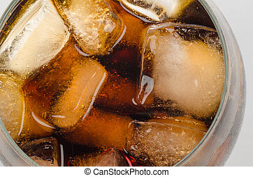 Cold coke - Glass of coke served with ice cubes