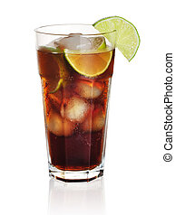 Cuba libre cocktail isolation on a white background
