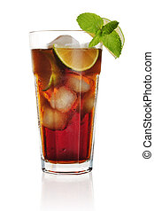 Long Island Iced Tea long drink isolated on white background
