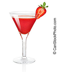 Frozen strawberry daiquiri alcohol cocktail isolated on...
