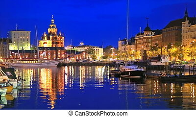 The Old Port in Helsinki, Finland - Scenic summer evening...