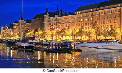 The Old Town in Helsinki, Finland - Scenic summer evening...