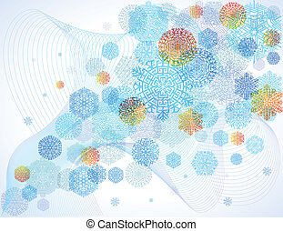 Snowflakes on blue background - Multi-colored snowflakes,...