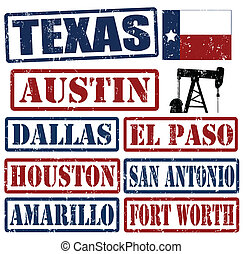 Texas Cities stamps - Set of Texas cities stamps on white...