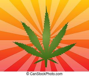 Marijuana, foglia, illustrazione