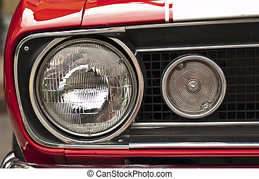 60s Muscle Car - Macro of a vintage American automobile