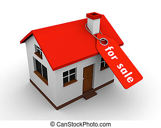 house for sale - 3d house with a price tag saying on sale