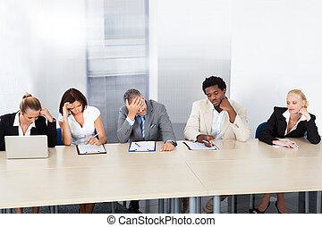 frustrado, corporativo, personal, oficiales, en, panel
