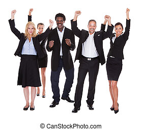 Happy Multi-racial Group Of Business People - Multi-racial...