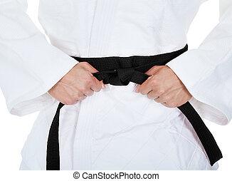 joven, hombre, Practicar, karate