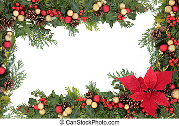 Poinsettia Floral Border - Christmas floral background...