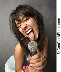 Beautiful Young Singer Sticking Out Her Tongue - Pretty...
