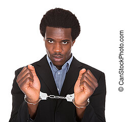 Arrested Man With Handcuffed Hands - Young African Man With...