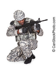 African Soldier Aiming With Gun
