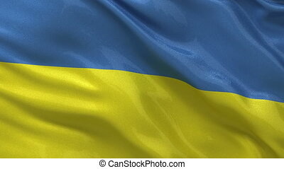 Seamless loop of the Ukrainian flag waving in the wind.
