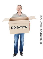 Happy man holding donation box isolated on white background