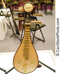 chinese zither musical instrument in exhibition