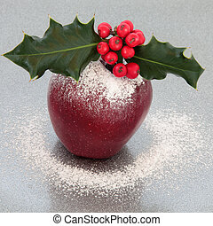 Festive Christmas Apple - Christmas apple with holly, red...