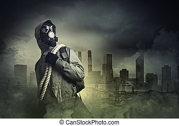Stalker in gas mask - Man in gas mask against disaster...