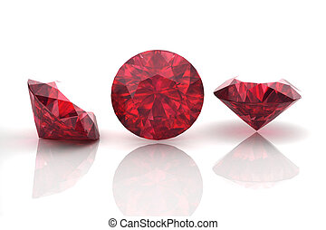 Ruby or Rodolite gemstone on white background