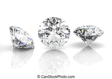 diamond jewel on white background. High quality 3d render