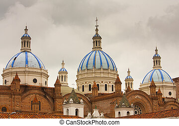 New Cathedral Cuenca Ecuador - The blue tiled domes of...