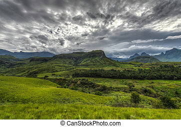 Landscape of Giants Castle Game Reserve - Dramatic views of...