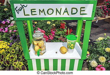 Cute Lemonade Stand - Charming fresh lemonade stand with jar...