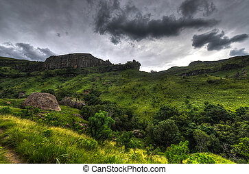 Landscape of Giants Castle Game Reserve - Dramatic view of...
