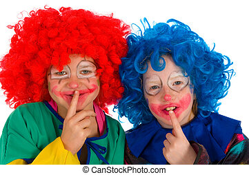Clowns children - Two funny little clowns