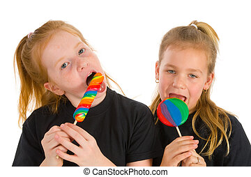 Girls with a lolly in many colors