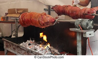 Whole Pig Roasting Over Charcoal - Whole Pig Roasting and...