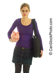 Young business woman saving money - Young business woman is...