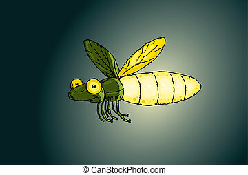 Firefly Light - A cartoon firefly flies while lit up at...
