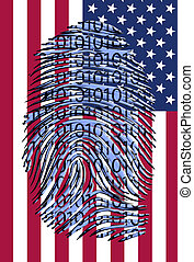Binary finger print over US Flag