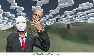 Man removes face to reveal mask underneath in surreal landscape