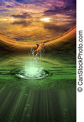 Fantasy landscape with splash from goldfish
