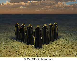 Hooded figures in barren landscape