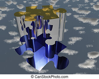 Puzzle piece reflecting sky