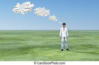 Man with 3D white thought clouds with text