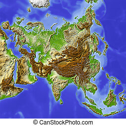 Asia, shaded relief map - Asia Shaded relief map Colored...
